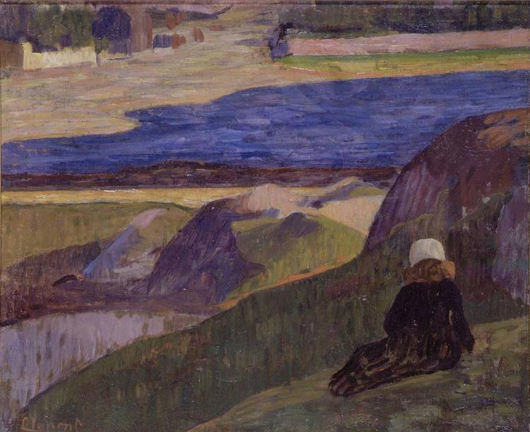"huariqueje: ""  Breton landscape with resting girl - Gad Frederik Clement, 1892 Danish, 1867-1933 Oil on canvas """