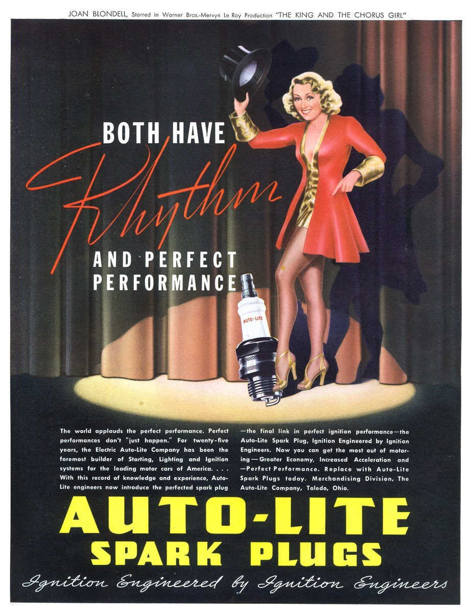 Auto-Lite Spark Plugs featuring Joan Blondell - published in Life - June 28, 1937