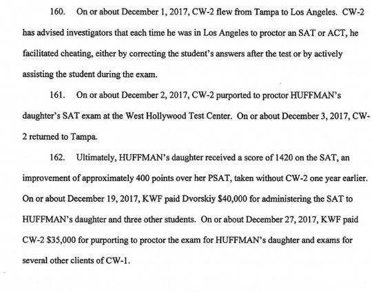 Huffman and Macy allegedly gave a $15,000 donation to a group that later paid a man who proctored the SAT to her daughter (above)