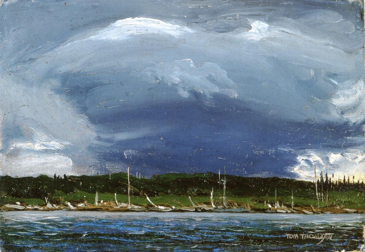 "dappledwithshadow: "" Thunderhead Tom Thomson 1912-1913 National Gallery of Canada - Ottawa (Canada) Painting Height: 17.5 cm (6.89 in.), Width: 25.2 cm (9.92 in.) """