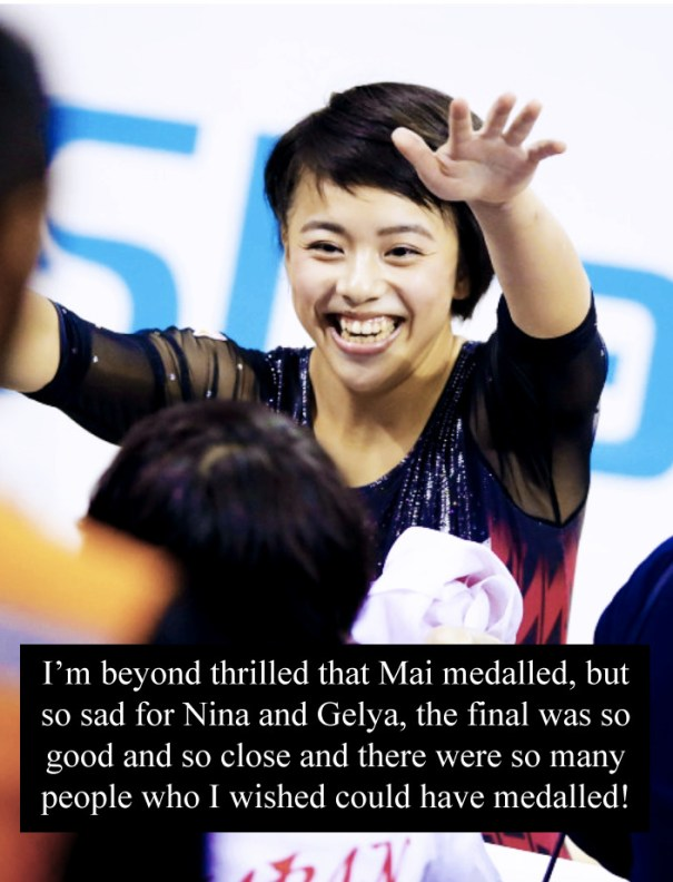 """9b54e218 """"I'm beyond thrilled that Mai medalled, but so sad for Nina and Gelya, the  final was so good and so close and there were so many people who I wished  could ..."""
