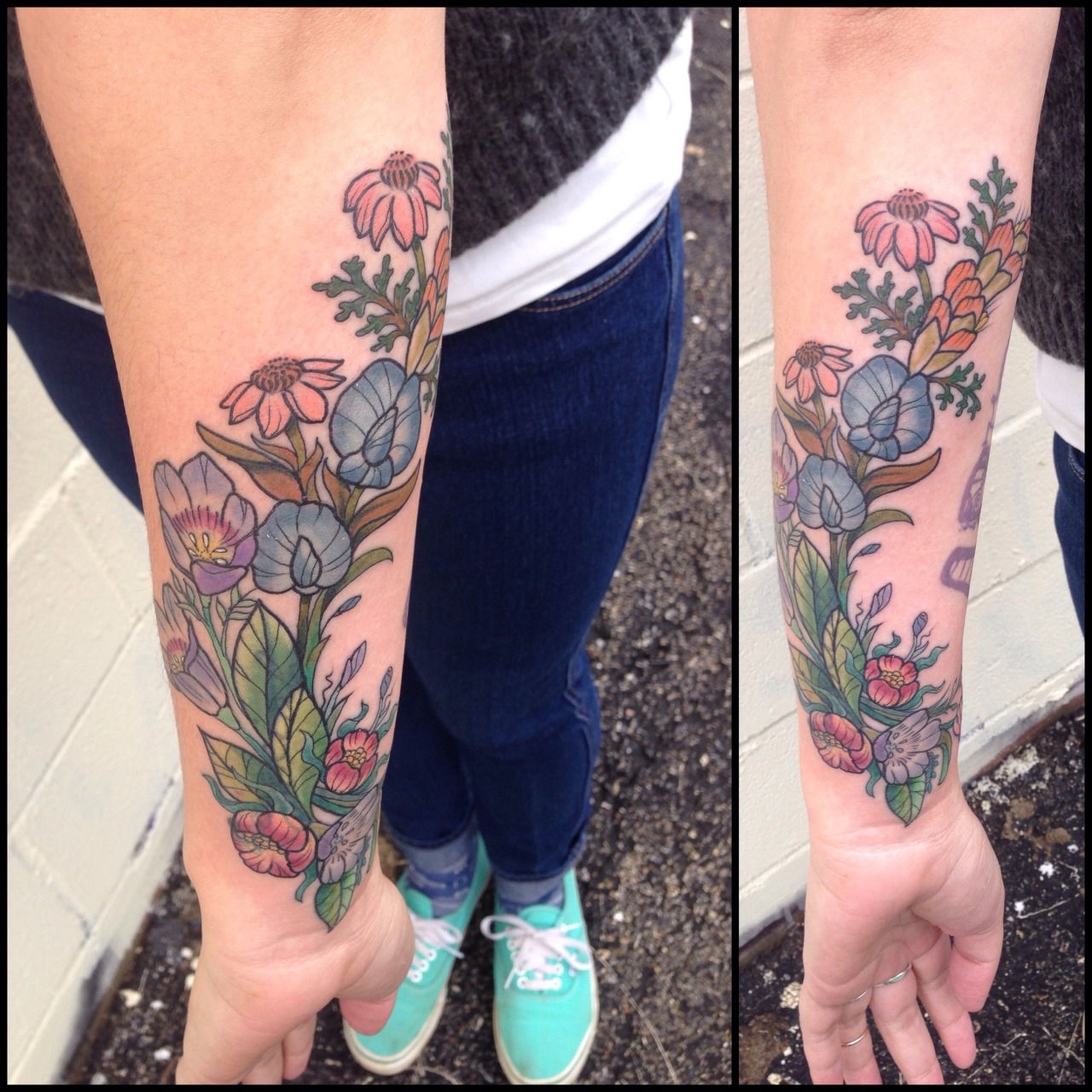 Fyeahtattooscom Wild Flowers Covering Up A Small Name