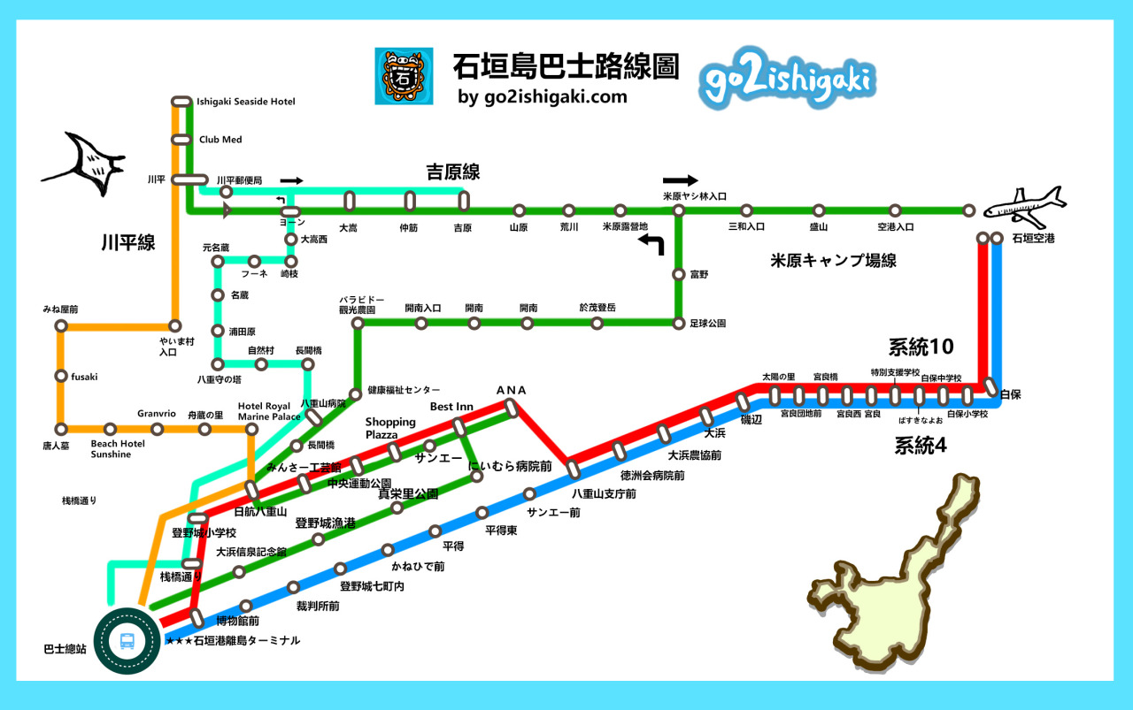 【石垣島旅遊情報】石垣島景點,雖然比起搭乘新幹線,逐漸形成一股趨勢,旅遊攻略 — 石垣島公車攻略- 巴士路線圖