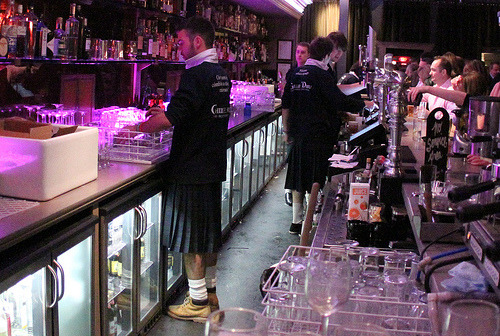 Kilted Bar Staff at Ghillie Dhu