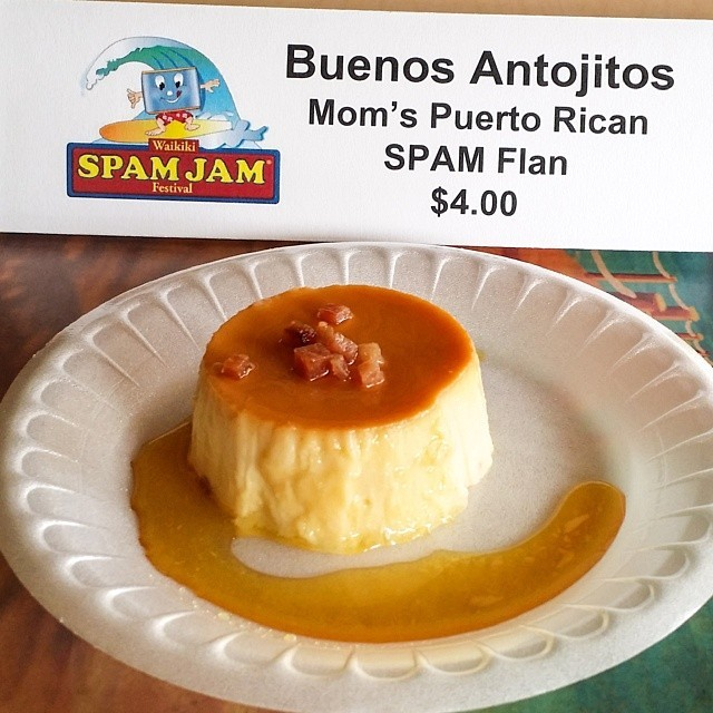 Mom's Puerto Rican SPAM Flan from Buenos Antojitos. #SpamJam @spambrand @waikikispamjam @beachcomberhi (at Holiday Inn Waikiki Beachcomber Resort)