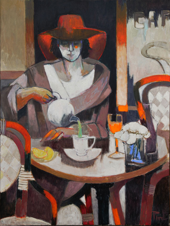"huariqueje: "" The Terrace Room - Pierre Pivet French, b.1948- Mixed media , 40 x 30 in. """