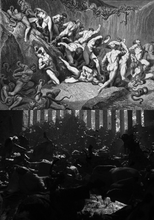 """uscss-prometheus: """"The Destruction of the EngineersPart VI / VI """"People running as they are consumed by serpents. Gustave Doré for Dante's Divine Comedy """" """""""