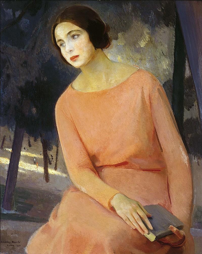 "terminusantequem: "" Amedeo Bocchi (Italian, 1883-1976) - Ritratto di Bianca in rosa (1930) """