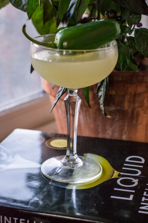 Margarita made with Black Pearl and Jalapeno-Infused Tequila Blanco