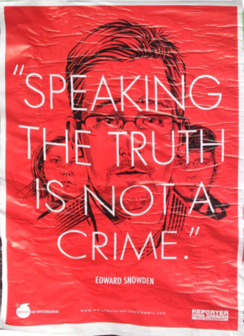 """""""Speaking the truth is not a crime."""" Reporter ohne Grenzen – found in Kreuzberg submitted via Email by Simone"""