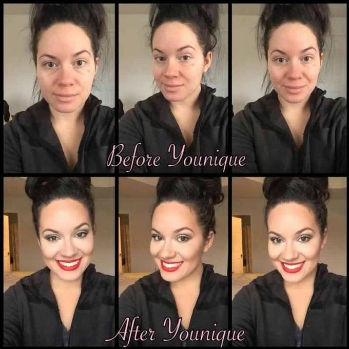 makeup. beauty — before and after using #younique makeup