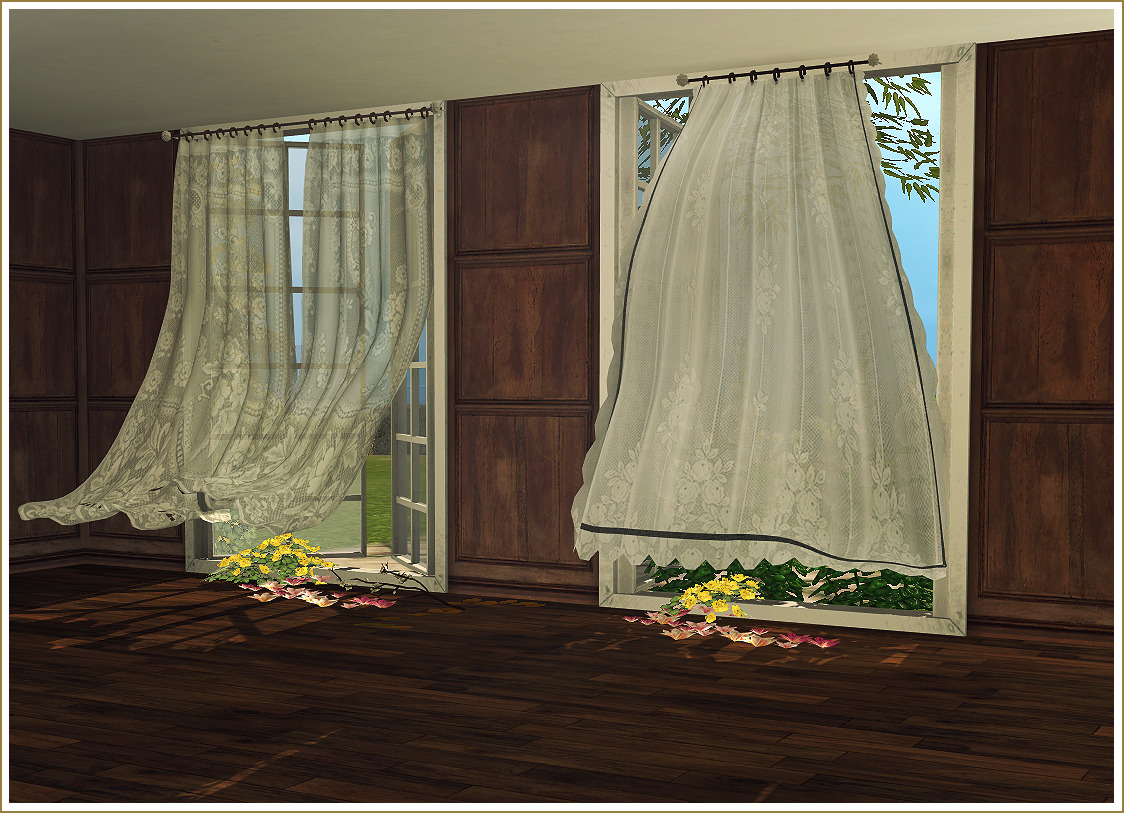 Lana CC Finds Daer0n Wind Blown Curtains Antique Mirrors
