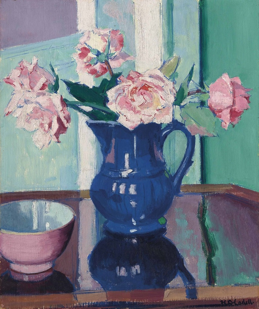 """thunderstruck9: """" Francis Campbell Boileau Cadell (British, 1883-1937), Roses, c.1925. Oil on panel, 44.4 x 36.8 cm. """""""
