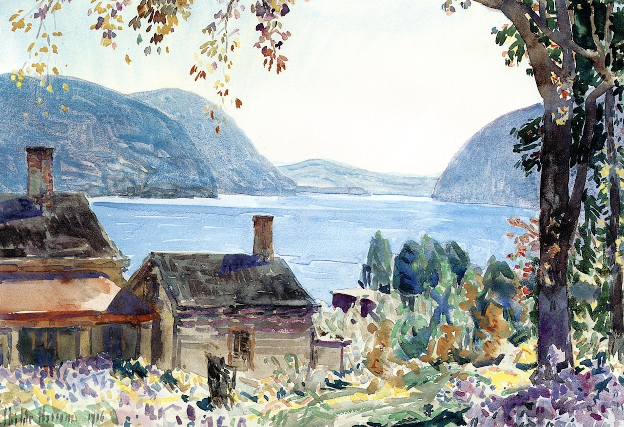 """dappledwithshadow: """" Old Houses on the Hudson Frederick Childe Hassam 1916 Private collection Painting - watercolor Height: 38.1 cm (15 in.), Width: 55.25 cm (21.75 in.) """""""