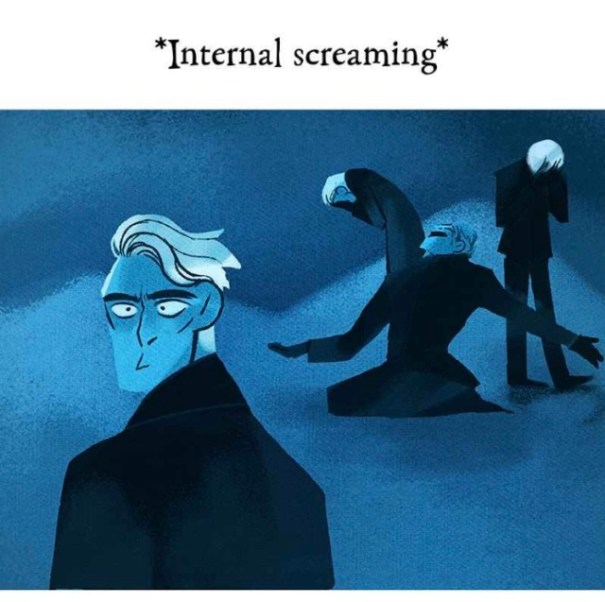 via WEBTOON/Rachel Smythe: Hades, blue god of the underworld, looks composed in front, but he is internally screaming in the background of the illustration