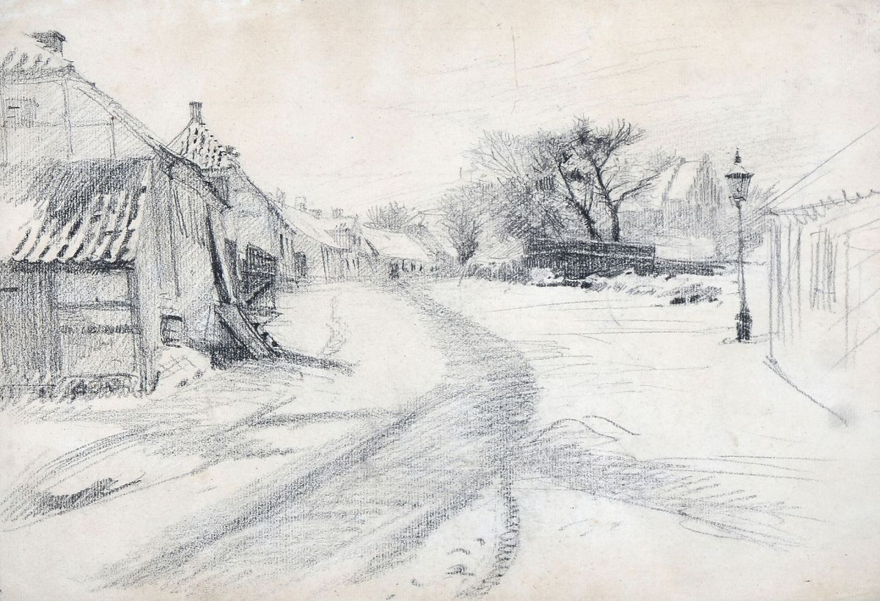 "thunderstruck9: "" Peter Ilsted (Danish, 1861-1933), Winter in the village. Pencil on paper, 22 x 32 cm. """