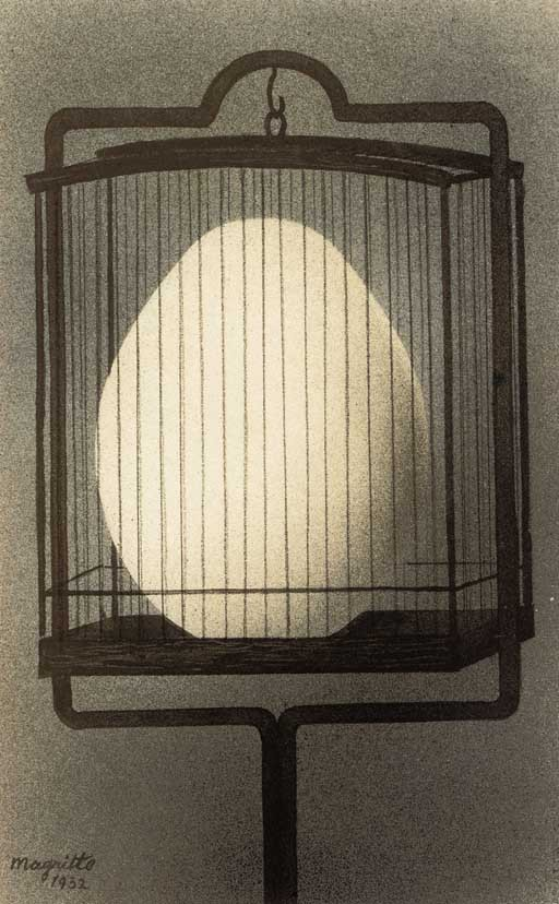 """Rene Magritte. 1932. """"Les affinites electives."""" Gouache, watercolour, black ink and charcoal on paper The concept of Les affinités électives (Elective Affinities) is one that Magritte considered his 'point of departure'. Its bringing together into a..."""