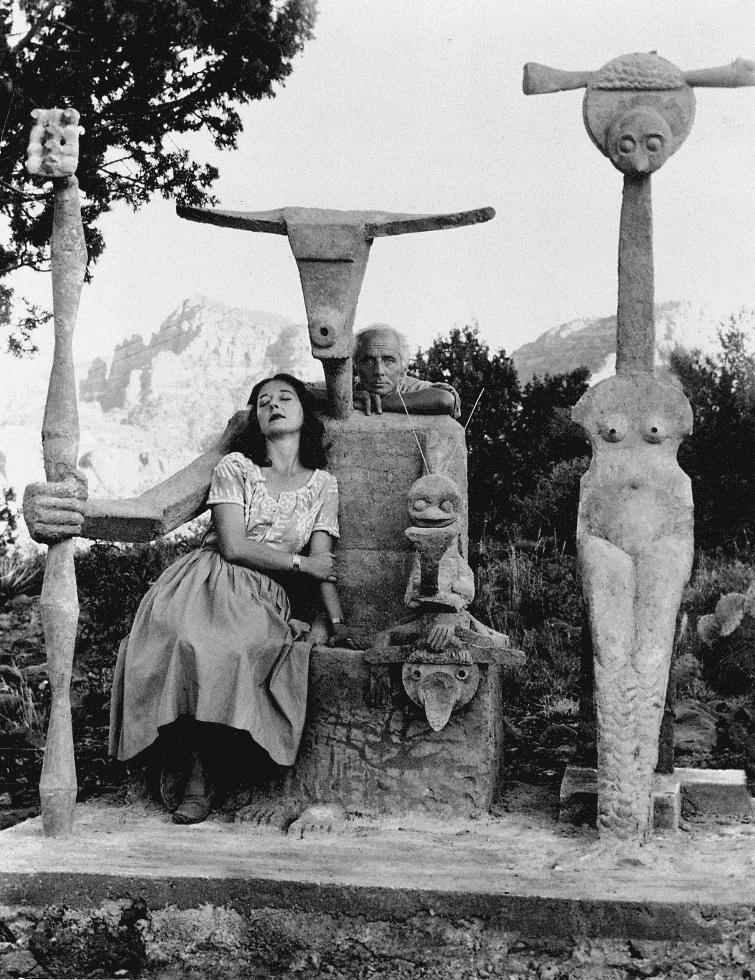 "quatermasspitt:"" Max Ernst and Dorothea Tanning with Capricorn sculpture, Sedona, Arizona, 1948Photo by John Kasnetzis"""