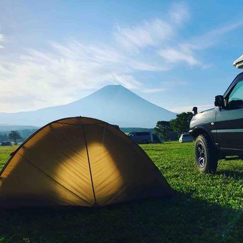 ふもとっぱらと竜ヶ岳登山【ジムニーでソロキャンプ】