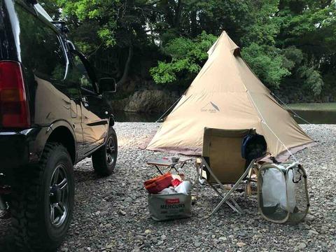 高麗川の新井橋河川敷でキャンプ【埼玉県日高市】