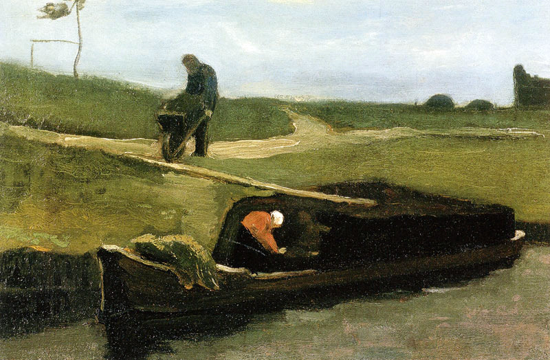 "dappledwithshadow: "" Peat Boat with Two Figures Vincent van Gogh 1883 Painting - oil on canvas Height: 37 cm (14.57 in.), Width: 55.5 cm (21.85 in.) """