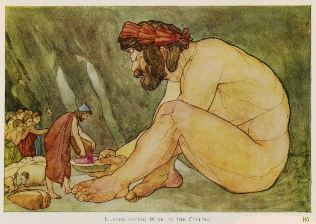 "Stories from Homer : ""The Odyssey"". Ulysses giving wine to the Cyclops. 1885. watercolor illustration. http://hadrian6.tumblr.com"