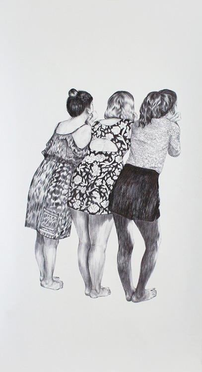 Three, ball point pen on paper, 30 x 17 in.