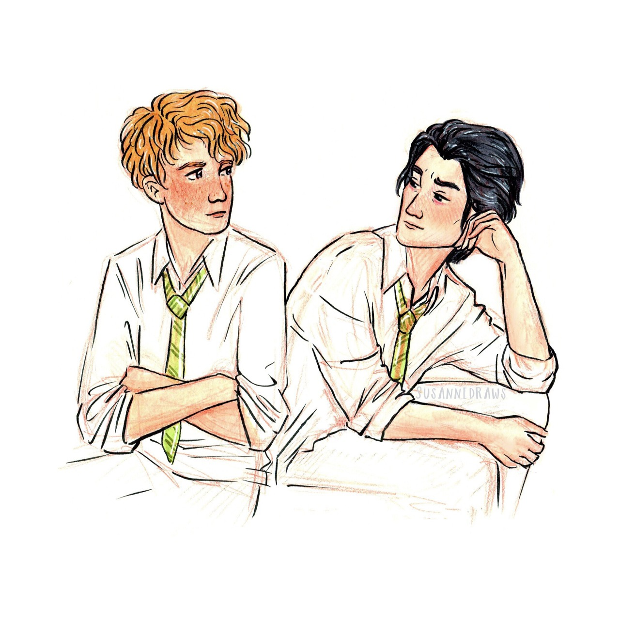 "susannedraws: "" Inktober day 22 Simon and Baz from @rainbowrowell's 'Carry On'. I still have 100 pages left, so please no spoilers! :) """