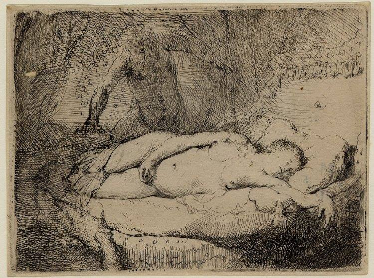 Rembrandt, Jupiter and Antiope, 1631,Height: 83 millimetres, Width: 112 millimetres, British Museum