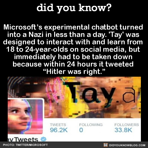 """Microsoft's experimental chatbot turned into a Nazi in less than a day. 'Tay' was designed to interact with and learn from 18 to 24-year-olds on social media, but immediately had to be taken down because within 24 hours it tweeted """"Hitler was right.""""..."""