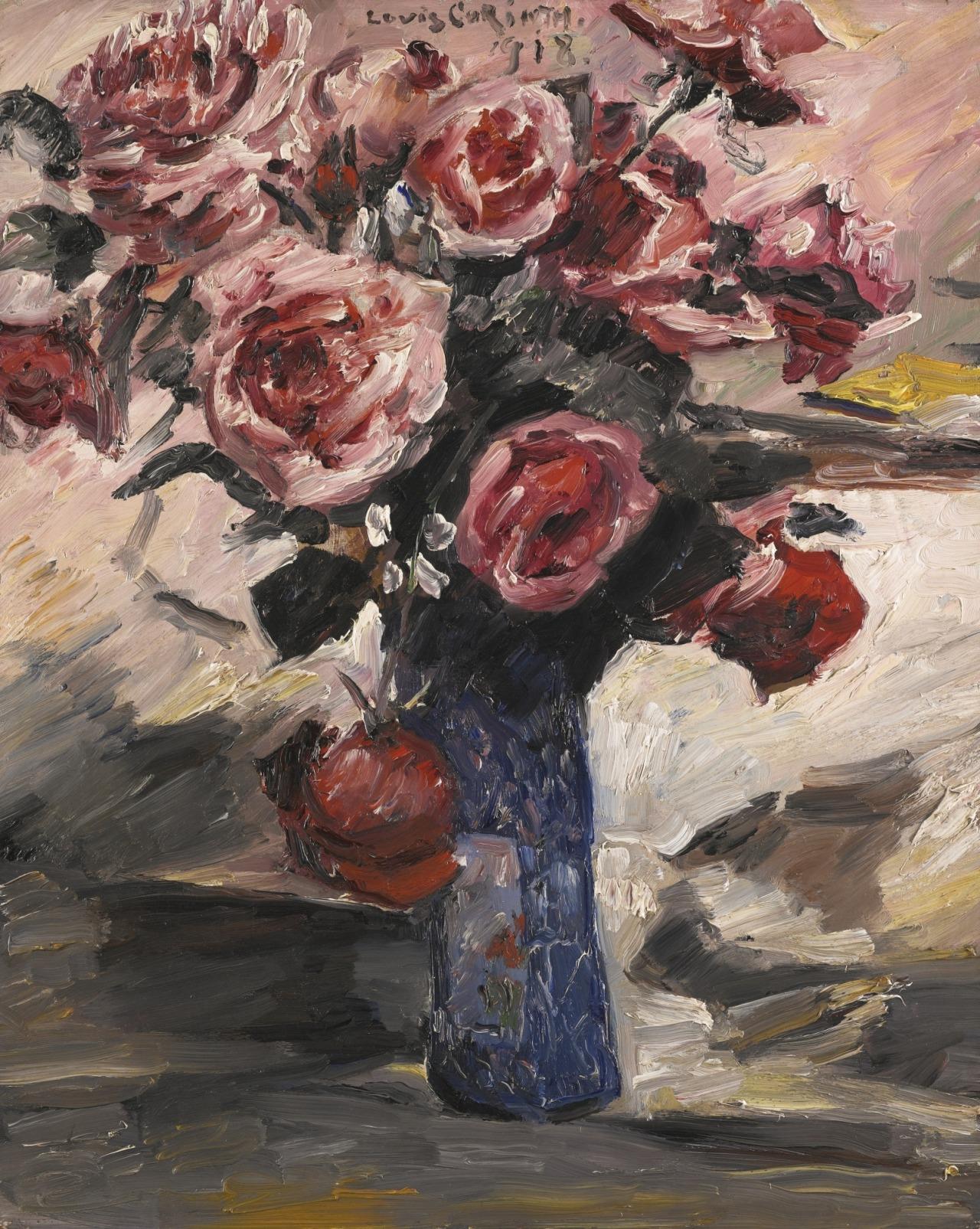 """thunderstruck9: """" Lovis Corinth (German, 1858-1925), Rosen [Roses], 1918. Oil on panel, 60.9 x 49.3 cm. """""""