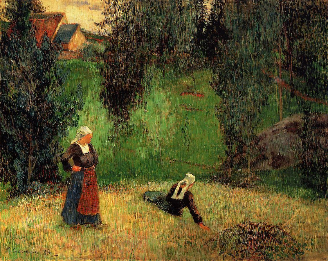 """dappledwithshadow: """" First Spring Flowers Paul Gauguin 1888 Private collection Painting - oil on canvas Height: 70 cm (27.56 in.), Width: 92 cm (36.22 in.) """""""