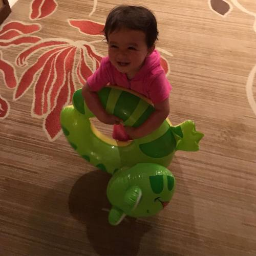 "Today my 1 year old proved she was smarter than me.. Me: ""Aunty Michelle bought you a turtle!"" Emma: ""Ribbit Ribbit"" Me: ""Oh…."" #DamnFrog #LoveYouDede"