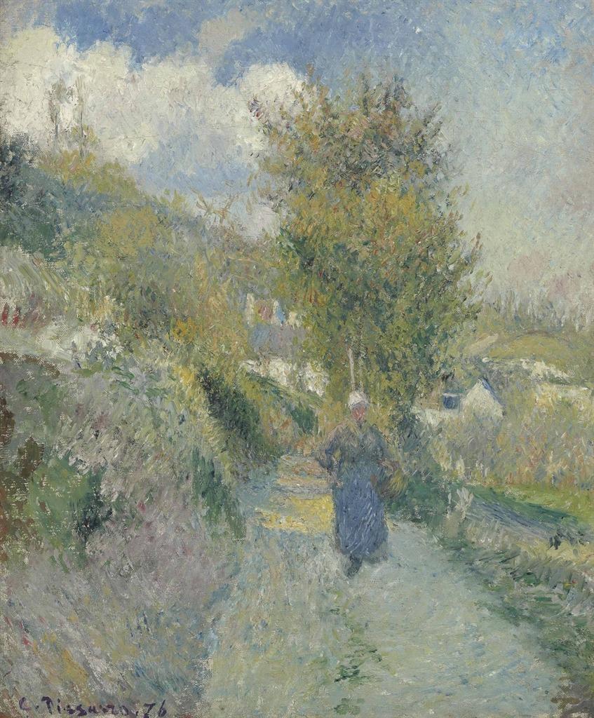 """thunderstruck9:"""" Camille Pissarro (French, 1830-1903), Chemin de Pontoise, Auvers-sur-Oise, 1876. Oil on canvas, 46.2 x 37.7 cm."""""""