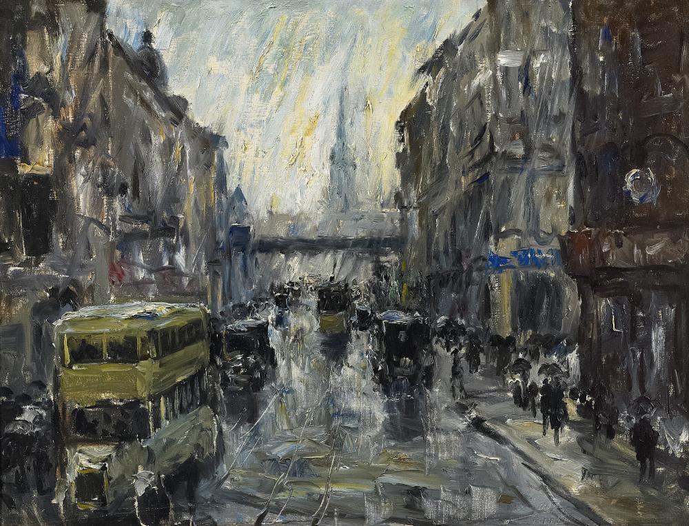 "huariqueje: ""  Königstrasse at the Alexanderplatz Train Station , Berlin - Otto Pippel , n/d German, 1878-1960 oil on canvas, 61 cm (24.02 in.), 79.3 cm (31.22 in.) """