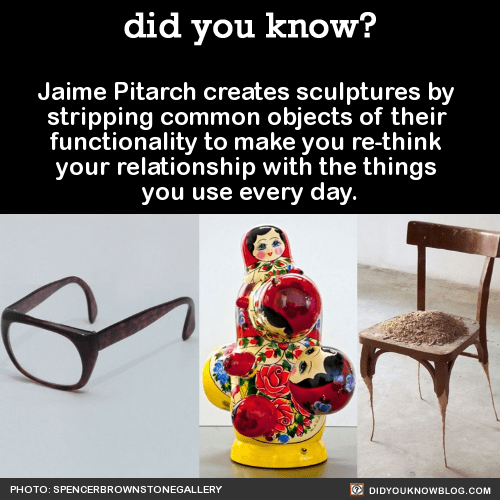 Jaime Pitarch creates sculptures by stripping common objects of their functionality to make you re-think your relationship with the things you use every day. Source
