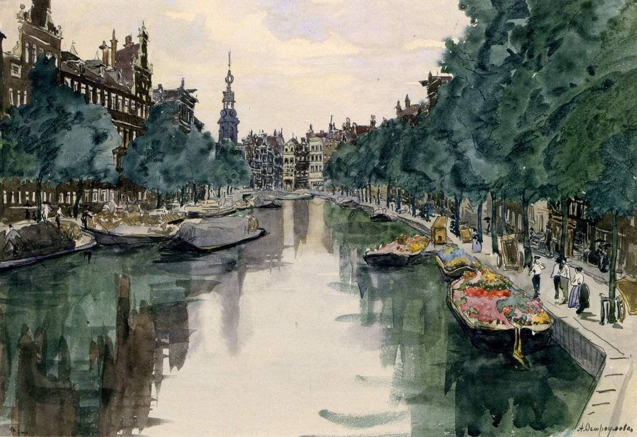 "huariqueje: "" Amsterdam - Ostroumova-Lebedeva Anna Petrovna , 1913 Russian, 1871 - 1955 Watercolour on paper. 34 x 48 cm Kyiv National Museum of Russian Art, Ukraine """