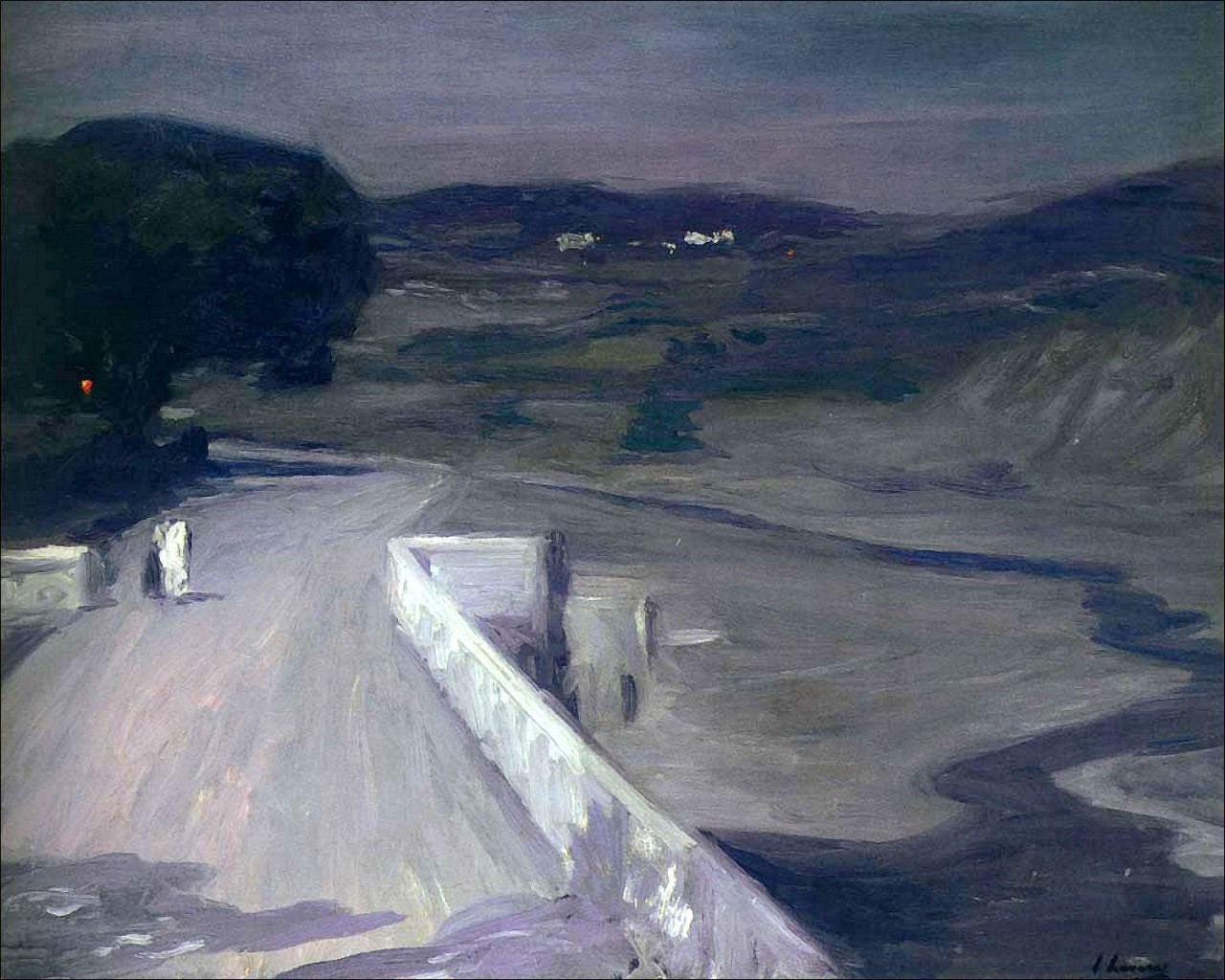 "huariqueje: ""  Clair de lune sur le pont , Moonlight on the Bridge - John Lavery , 1912 Irish, 1856–1941 Oil on canvas """