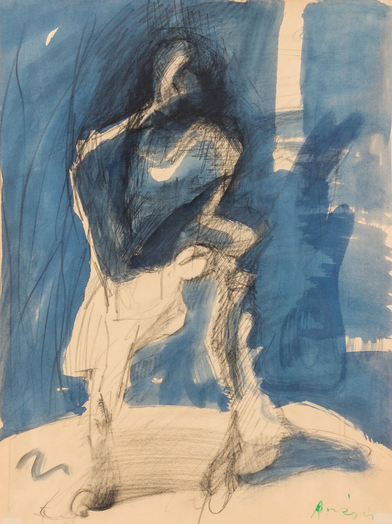 """thunderstruck9: """" Siegfried Anzinger (Austrian, b. 1953), Schritt in den Schatten [Step into the shadows], 1985. Mixed media on paper, 54 x 41.5 cm. """""""