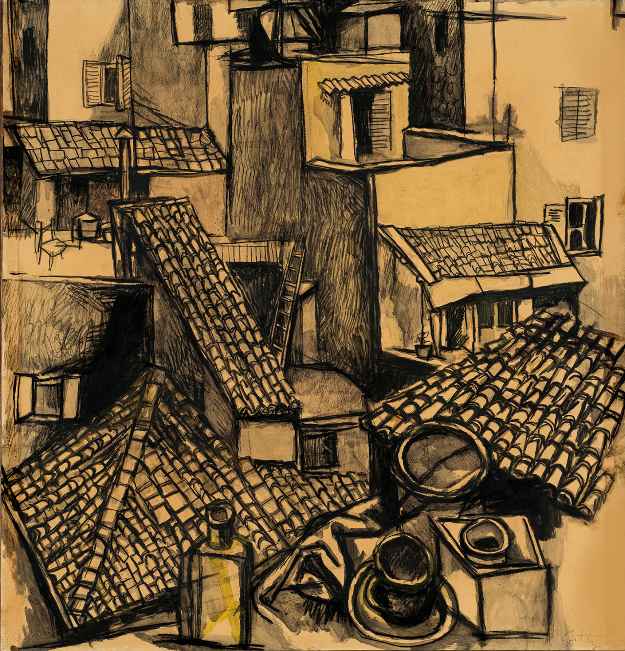 "thunderstruck9:"" Renato Guttuso (Italian, 1911-1987), Tetti di Roma [Roofs of Rome], 1961. Pencil and watercolour on paper laid on canvas, 77 x 74 cm."""