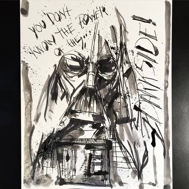 """You don't know the POWER of the Darkside…"" #darthvader #starwars #art #artist #artwork #ink #drawing #illustration #design #graphic"