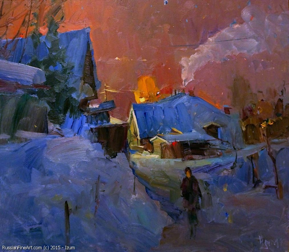 "russianfineart: "" http://www.russianfineart.com/catalog/prod?productid=22407 In The Night In Plyos - oil, canvas on cardboard Russian painter: Izum """