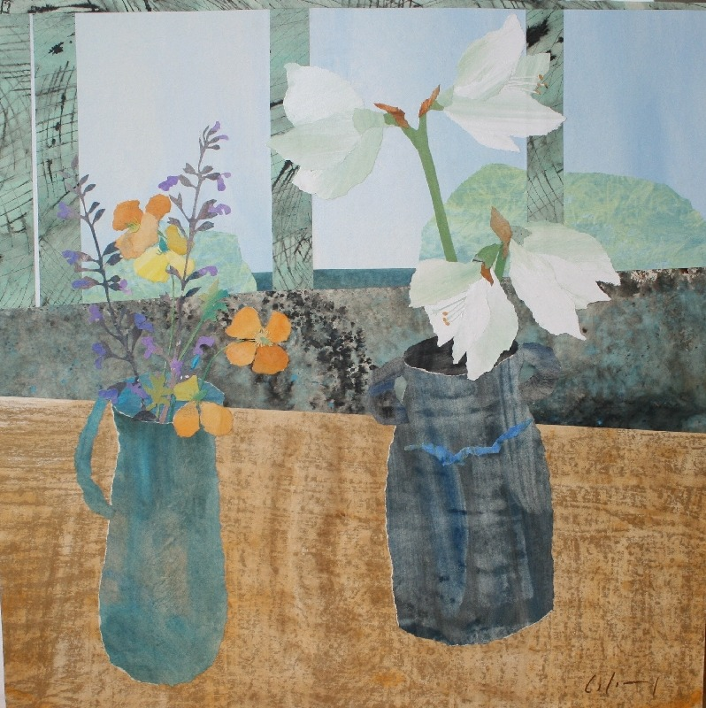 lawrenceleemagnuson:  Marzia Colonna (b. 1951 Italy)Amaryllis and Poppiescollage 32 x 32 in.http://www.marziacolonna.com