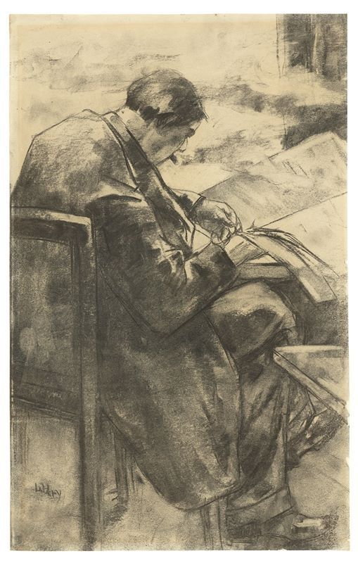 "thunderstruck9: "" Lesser Ury (German, 1861-1931), Zeitungsleser im Café [Newspaper reader in a café]. Charcoal on paper, 49 × 31 cm. """