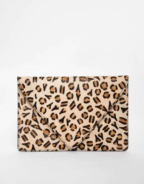 ASOS Leopard Print Ponyskin Clutch Bag