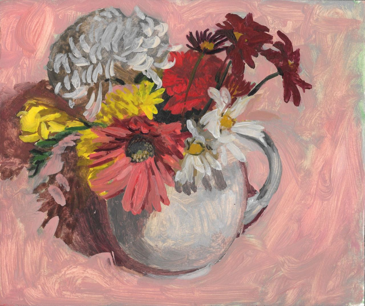 Ken KewleyBouquet on Pink.1985oil on paper board, 8 x 10 inches