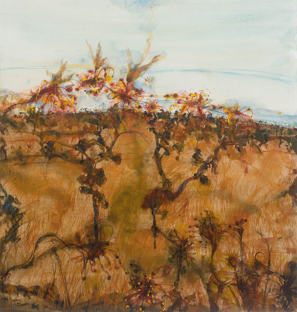 """thunderstruck9: """" John Olsen (Australian, b. 1928), Rydal - Grevilleas and Honeyeaters, 1999. Watercolour, pastel and synthetic polymer paint on paper, 100 x 94.5 cm. """""""