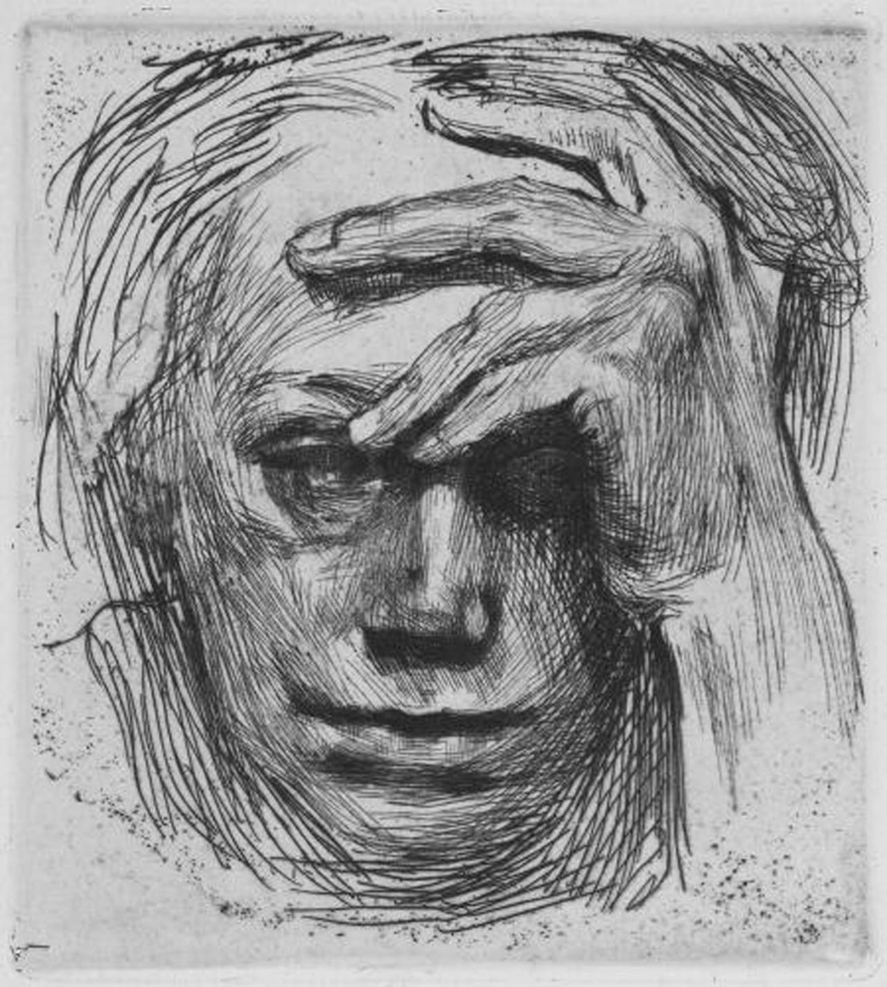 Kathe Kollwitz: Self- Portrait with Hand on Brow (1910) Etching