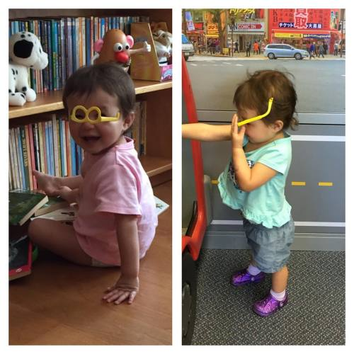 Two different days, two different locations, two different baby-sitters watching her, same glasses fashion sense.