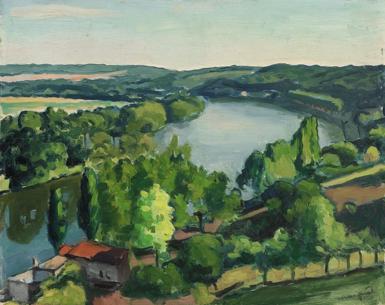 """thunderstruck9: """" Albert Marquet (French, 1875-1947), Paysage de rivière [River landscape]. Oil on panel, 32.5 x 41 cm. """""""
